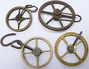 4 Antique 4 And 6 Spoke Pulleys For Longcase Grandfather Or Regulator Clocks. Cp6