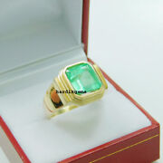 Solid 18k Gold Natural Colombia Emerald Gemstone Wedding Ring Jewelry Sz 8 Us