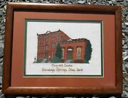Antique Rare Canfield Casino Saratoga Springs Ny Embroidered Needlepoint Picture