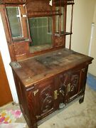 Authentic Wooden Antique Ice Box With Spout Including Added Mirrored Hutch