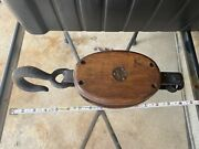 Antique Barn Pulley Block And Tackle Western Block Blacksmith Anvil Farm Tool