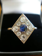Vintage Platinum Sapphire And Diamond Cluster Dress / Cocktail Ring Made In Uk