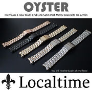 Premium 3-row Oyster Style Multi End-link Satin And Part-mirror Watch Bracelets