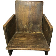 Small Antique Victorian 19th Century Scratch Built Wood Dolls Childs Chair