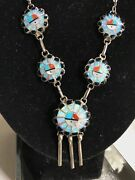 Rare Zuni Antique Inlaid Genuine Opal Turquoise Onyx Sun Face Necklace Stunning