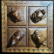 Men's Lapel Pin And Ring Box Tribal Wooden Hand Carved And Painted Statement Large
