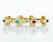Catherine Mullen 18k Yellow Gold Link Emerald Ruby And Sapphire Bracelet