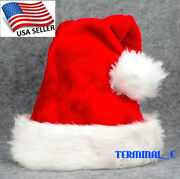 Christmas Hat Cap Party Santa Claus Red Plush Xmas Headgear Costume For Adults