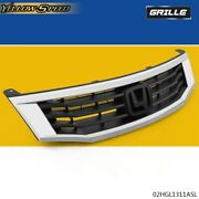 Fit For 2008-2010 Honda Accord Sedan 4dr Chrome Front Hood Bumper Grill Grille