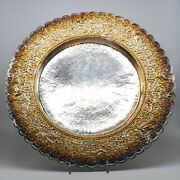 Medium Charger / Plate Sterling Silver Japan Peacock Flower Motif Antique 467.2g