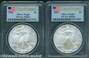 2-coins 2003 And 2002 American Silver Eagles Ase S1 Pcgs Ms69 First Strike Fs