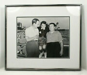 Vintage Abbott And Costello Photograph With A Girl At The Beach Boardwalk. Bandw
