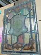 Antique Decorative Stained Glass Panel   Shield Motif