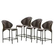 Oyster Bay Counter Bar Stool Chair Outdoor Wicker Multi Brown Iron Frame 4 Pack