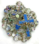 † Vintage Sterling Medal 800 Enameled Confetti Capped Rosary 39 1/2 114 Grams †