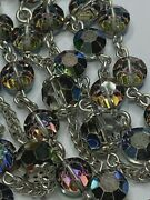 † Vintage Sterling Aurora Borealis Octagon Glass Rosary 32 Necklace 56 Grms †