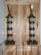 Vintage Pair Hollywood Regency Chapman Banded Brass And Crystal Glass Table Lamps