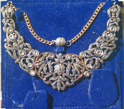 Ladies Silver/gold Wash Collar Style Necklace. 6 Across With Mine Cut Diamonds