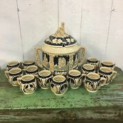 Vintage Large German Stoneware Pottery Soup Tureen Punch Bowl Stein Set 13 Cups