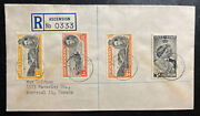 1949 Ascension Island Registered Cover To Montreal Canada Silver Wedding Stamp