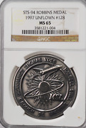 1997 Sts-94 Robbins Silver Space Medal Unflown 128 Ngc Ms65 Columbia