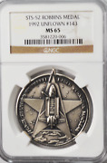 1992 Sts-52 Robbins Silver Space Medal Unflown 143 Ngc Ms65 Columbia