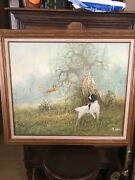 Vintage Oil Painting S. Lee. English Setter Hunting
