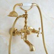 Luxury Bathroom Gold Color Brass Clawfoot Tub Filler Faucet Handshower Gna848