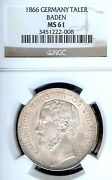 Germany States Baden-durlach 1866 Taler Coin Thaler Ngc Ms 61 Vz/f.stg Unc Rare