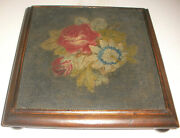 Antique 1800`s Victorian Flowers Roses Needlepoint Wood Footed Stand Base 19thc