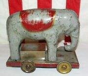 Vintage Antique Toy Metal Circus Elephant...friction Action 1930's..