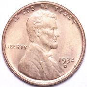 1934-d Lincoln Wheat Cent Penny Choice Bu Red Free Shipping E971 Uch