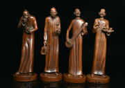 8 Chinese Boxwood Wood Carving Dynasty Palace Drunkery Human Statue Set