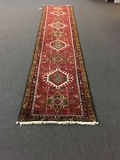 Genuine Hand Knotted Gharajeh Vintage Tribal Geometric Runner Rug 2and0397andrdquox12andrsquo6andrdquo960