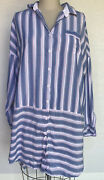 Gilligan And Oandrsquomalley Womenandrsquos Long Sleeve Button Up Sleep Shirt Nightgown Blue L