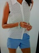 New Lilly Pulitzer Lenox Button Front Top Resort White Mini Geo Eyelet Size 6