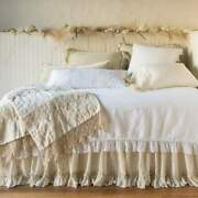 Nwt Bella Notte Frida Wedding Blanket In Parchment 100 Linen With Lace Trim