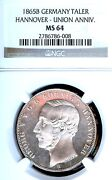German States Hannover 1865 Taler Coin Thaler Ngc Ms 64 F.stg/stg Unc Union Rare