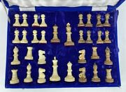 Staunton Camel Bone Hand Carved Collector's Chess Set India Rare King 3.5