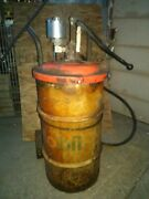 Vintage Mobil Oil Drum,hose,guage And Dolly