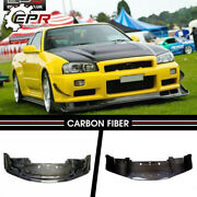 For Nissan Skyline R34 Gtr As Style Carbon Fiber Front Bumper Lip With Undertray