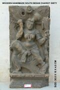 Handcrafted Antique Wall Panel Sculpture Lord Vishnu Hand Carving Unique Home Ar