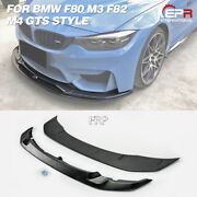 For 2015+ Bmw F80 M3 And F82 M4 Gts Style Frp Front Bumper Lip Splitter Wing 2pcs