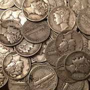 Lot Of 100 Coins, 2 Rolls Mercury Silver Dimes, 10.00 Face 90 Free S/h
