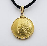Gold 1915 10 Indian Head Eagle Coin 1/2 Oz.gold Pendant-14k Yellow Gold Bezel