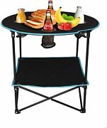 Vilobos Camping Folding Table Outdoor Picnic Party Bbq Desk 4 Cup Holders W/ Bag