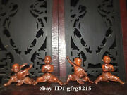 3 China Antique Boxwood Hand Carved Kung Fu Kid Decoration A Set