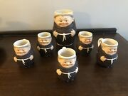 """Vintage Set Of 6 Goebel Friar Tuck Monk Beer Mugs T74/1 And T74/3 """"with Toes."""""""