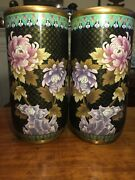 Huge Cylindrical Chinese Cloisonnandeacute Large Vases Mirrored Vase Pair Floral Birds