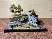 1/35 Pro Built Plastic Model Diorama Ww2 Tank Trees And Destroyed House